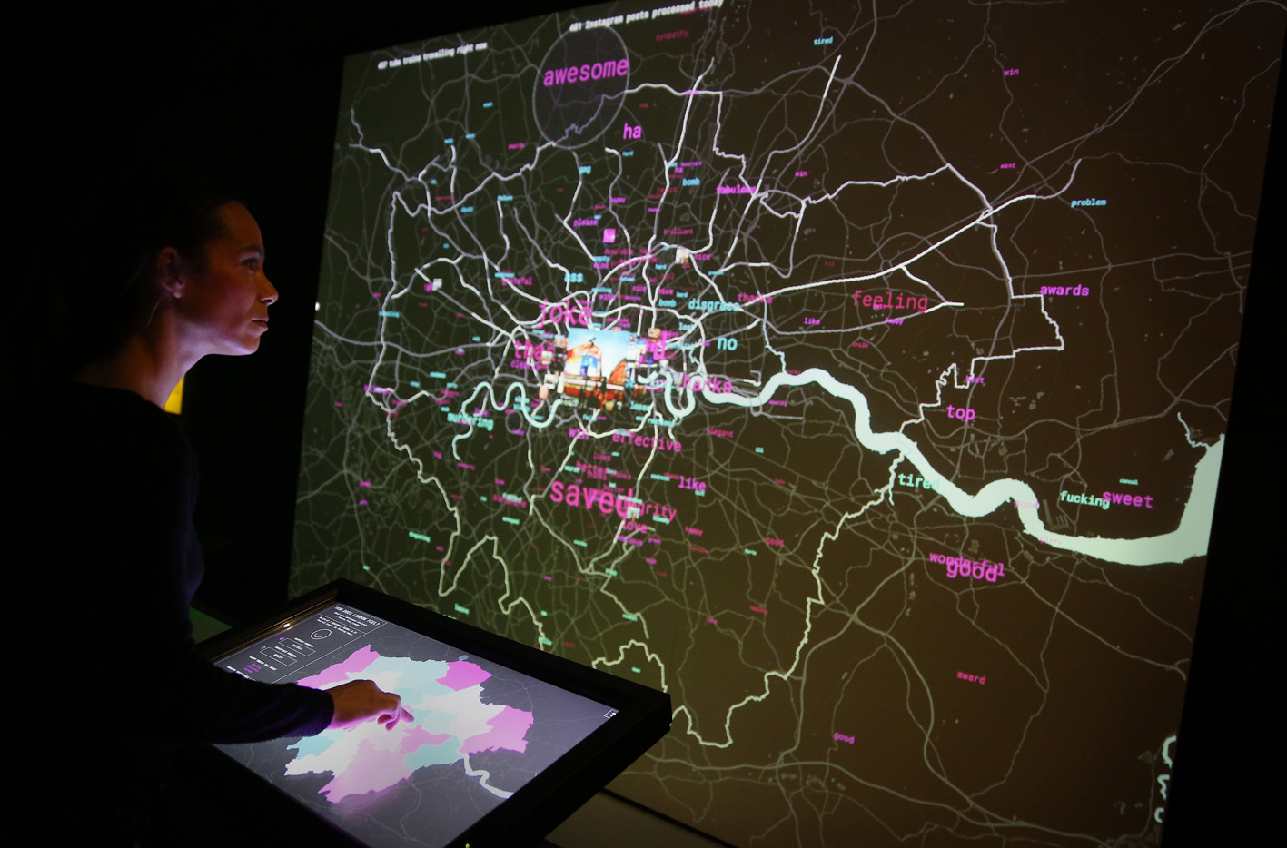 London Data Streams - a live social media map of London by Tekja at the Big Bang Data exhibition