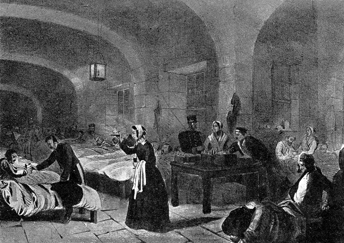 "A picture of Florence Nightingale (1820-1910), ""The Lady with the lamp"", the English nurse, famous for her work during the Crimean War, is seen here in the hospital at Scutari, Turkey  (Photo by Popperfoto/Getty Images) via BBC"