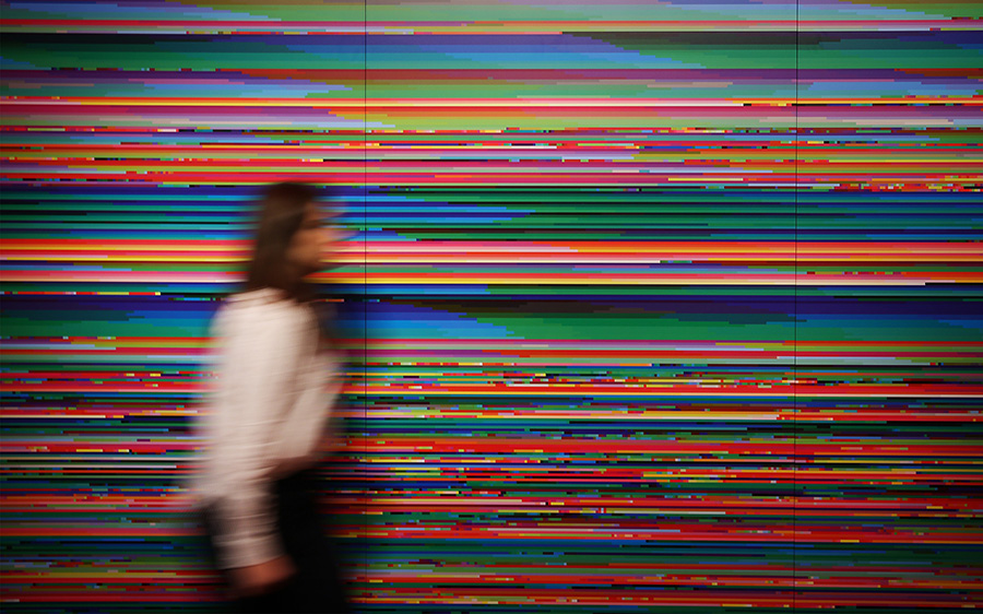 LONDON, ENGLAND - DECEMBER 02:  The first visualisation of the World Wide Web from 1999, with colours representing individual websites, by artist Lisa Jevbratt is shown at the Big Bang Data exhibition at Somerset House on December 2, 2015 in London, England. The show highlights the data explosion that's radically transforming our lives. It opens on December 3, 2015 and runs until February 28, 2016 at Somerset House.  (Photo by Peter Macdiarmid/Getty Images for Somerset House)